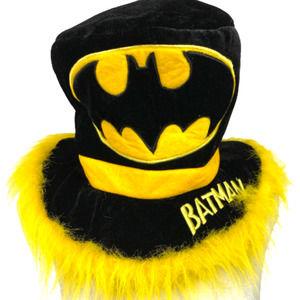Six Flags Batman Black Felt Hat Faux Fur Trim